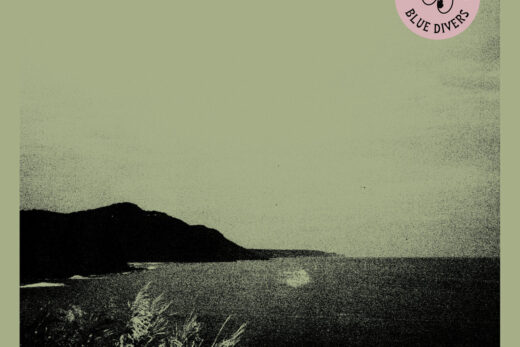 Blue Divers ablum cover with lonely mountain in distance